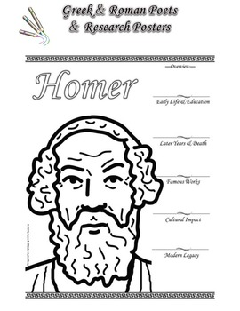 Greek and Roman Poets Research and Coloring Posters