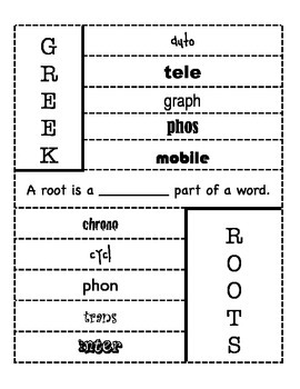 Greek Root Flip Book