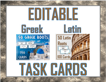 Editable Word Root Cards