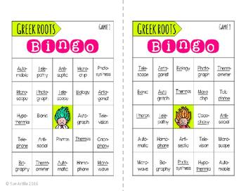 Greek Roots Bingo & Matching Games