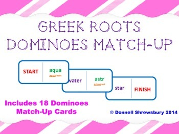 Greek Roots Dominoes Vocab Match-up Activity