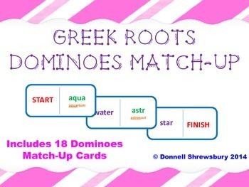 Greek Roots Dominoes Vocab Match-up Activity