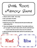 Greek Roots Memory/Matching Game