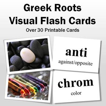 Vocabulary Activities   Greek Roots Visual Flash Cards Part 1