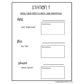 Greek Roots Worksheet Stations