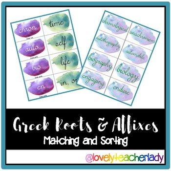 Greek Roots and Affixes - Matching and Sorting