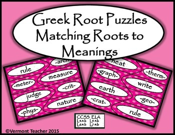 Greek Roots and Their Meanings - A Puzzle Activity