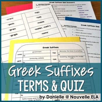 Greek Suffixes Terms & Quiz