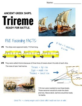 Greek Trireme (Greek Ships): Informative Text, Questions and Activities