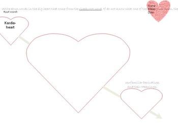Valentine's Greek Word Root and Derivatives worksheet