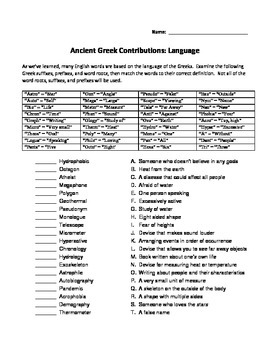 Greek Word Roots Prefixes and Suffixes Worksheet