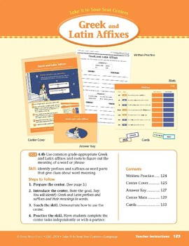 Greek and Latin Affixes (Take It to Your Seat Centers: Common Core Language)