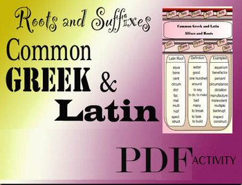Greek and Latin Common Core Roots Suffixes Affixes Language