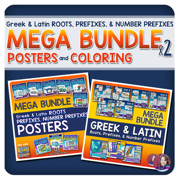 Greek and Latin POSTERS & COLORING MEGA BUNDLE (Roots and Prefixes)