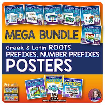 Greek and Latin POSTERS MEGA BUNDLE (Roots, Prefixes, and Number Prefixes)