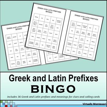 Greek and Latin Prefixes Bingo