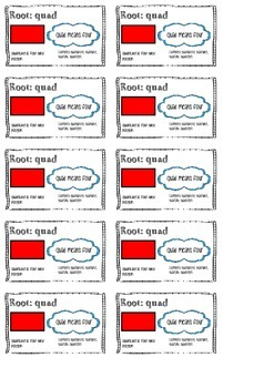 Greek and Latin Root Cards (Business Card Size)