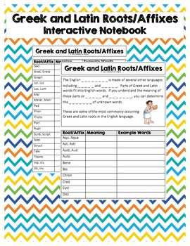 Greek and Latin Root/Affix - Interactive Notebook