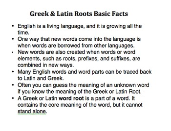 Greek and Latin Root Unit with Assessments