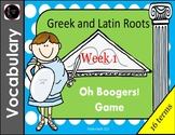 Greek and Latin Root Vocabulary Game - Oh Boogers! Week 1