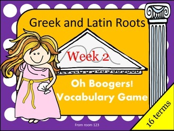 Greek and Latin Root Vocabulary Game- Oh Boogers! Week 2