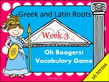 Greek and Latin Root Vocabulary Game - Oh Boogers! Week 3