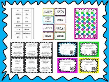 Greek and Latin Root Word Activity Bundle (44 Roots, QR Code Task Cards, Games)