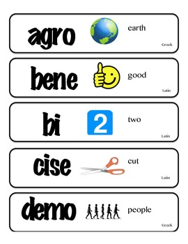 Greek and Latin Root Word Cards