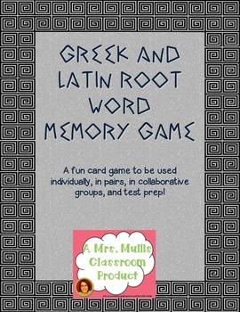 Greek and Latin Root Word Memory Game