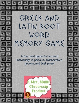 Greek and Latin Root Word Memory Game
