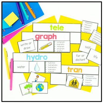 Greek and Latin Root Word Wall Cards and Sorts