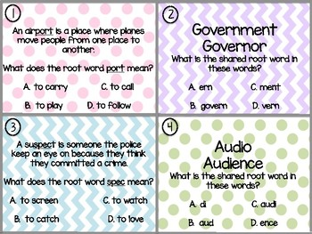 Greek and Latin Root Words Task Cards