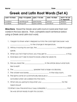 Greek and Latin Root Words and Affixes Common Core TN Ready worksheet set