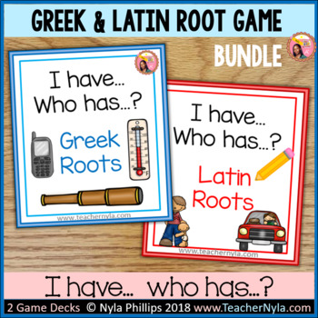Greek and Latin Roots 'I Have Who Has' game bundle