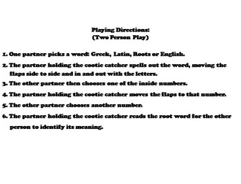 Greek and Latin Roots Activity/ Vocabulary Practice 4th, 5th, 6th, 7th 8th Grade