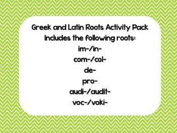 Greek and Latin Roots Activity Pack
