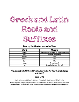 Greek and Latin Roots- Aligned with 4th Grade Wonders, Unit 3