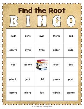 Greek and Latin Roots Bingo Game