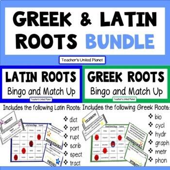 Greek and Latin Roots Bingo and Match Up Bundle!