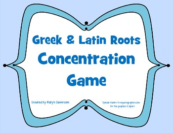 Greek and Latin Roots Concentration Game