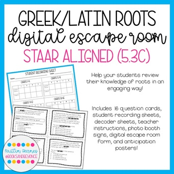 Greek and Latin Roots Digital Escape Room (STAAR Aligned; TEKS 5.2A)