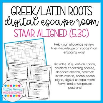 Greek and Latin Roots Digital Escape Room (STAAR Aligned; updated TEKS 5.3C)