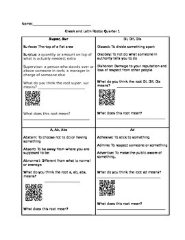 Greek and Latin Roots Discovery Activity with QR Codes