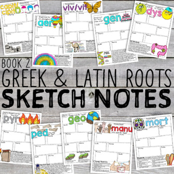 Greek and Latin Roots Doodle Notes Sketch Notes [Book 2]