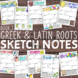 Greek and Latin Roots Doodle Notes Sketch Notes: Book 1