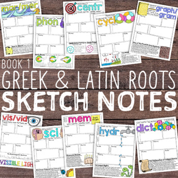 Greek and Latin Roots Sketch Notes: Book 1