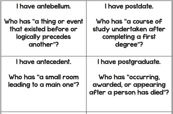 Greek and Latin Roots-Extreme Vocabulary ANTE- and POST-