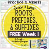 Greek and Latin Roots: FREE Printables! Week 1 Practice & Assess