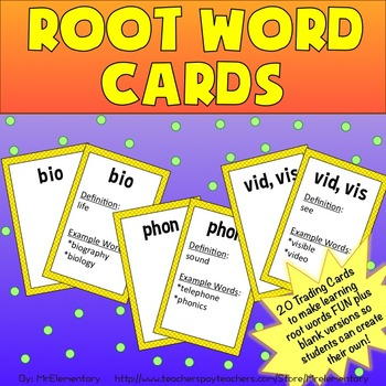 Root Words Trading Cards