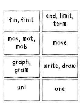 Greek and Latin Roots Flashcards 2 (16 Greek/Latin Roots & Prefixes/Suffixes)